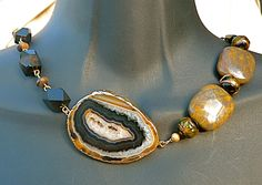 Black & Brown Agate Druzy Slice Bib Necklace, statement necklace, geode slice, natural stone, rustic, gift for mom, Christmas gift, bronzite by FunNFiber on Etsy