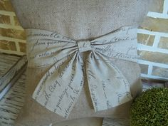French Script Bow Wrapped around a Burlap by SimplyFrenchMarket, $30.00