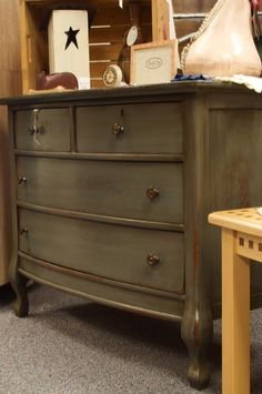 Doodle Bug: Distressed Antique Dresser--Paint & Stain- good luck dea for my rocking chair!!!!