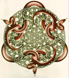 mc esher -  Snakes 1969 woodcut in orange, green and black, printed from 3 blocks