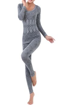 094211f17d275 Women Round Neck Thermal Set Winter Tops&Pants Long Johns Pajama Sets Gray-in  Long Johns from Women's Clothing & Accessories on Aliexpress.com | Alibaba  ...