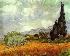 Vincent van Gogh, Korenveld met cipressen, oktober 1889, olieverf op doek, 73 x 92 cm, National Gallery, Londen http://www.artsalonholland.nl/meesterwerken/vincent-van-gogh-korenveld-met-cipressen