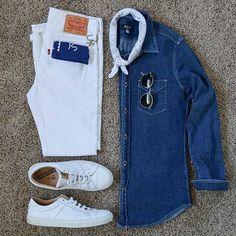 Stylish Grid by @everydaydrew Follow @stylishgridgame Brands ⤵ Shirt: @stockmfgco Jeans: @levis Shoes: @greatsbrand Sunglasses: @rayban Bandana: @kirikomade