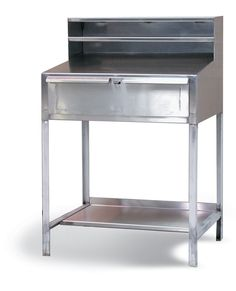 Stainless Steel Standing Shop Desk - Stainless steel shop desk with top drawer and paper holder shelf. Open lower section with shelf. Drawer lockable with a padlock. Industrial Shop, Industrial Storage, Shop Desk, Stainless Steel Cabinets, Top Drawer, Storage Solutions, Shelf, Paper, Table