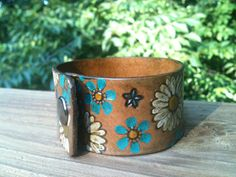 Painted Vintage Hippie Floral Leather Cuff by GratifyDesign, $20.00