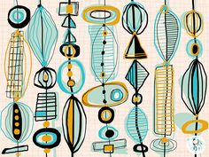 Mid-Century Inspired Designs (iPad + Adobe Line, Ink) on Adobe Illustrator Line