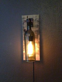 Rustic Wine Bottle Wall Light /Sconce Light by WineCountryLights