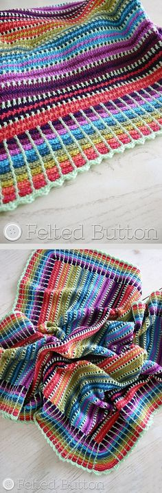 Skittles blanket, free pattern by Susan Carlson shown in photo using 10 colors…༺✿ƬⱤღ http://www.pinterest.com/teretegui/✿༻