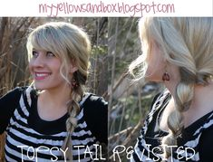 Topsy Tail Fishtail Braid.  My Yellow Sandbox- awesome blog full of great hairstyle how-to's