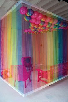 Rainbow Commentary Installations - The Rainbow Room by Pierre Le Riche is a Vibrant Sitting Room (GALLERY)