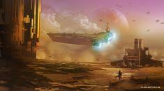 Wasteland Drop off , Steve Palmerton on ArtStation at https://www.artstation.com/artwork/aooK9