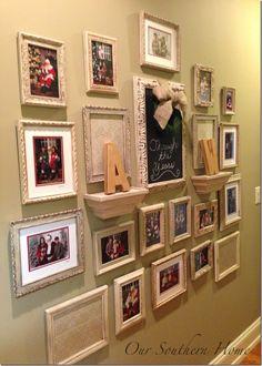 photo frame collage...idea to redo my hallway art