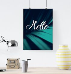 Hello Poster Wall Decor Minimal Art Print Nature by LovelyPosters
