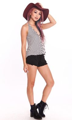 WRAP FRONT STRIPED HALTER TOP - NAVY