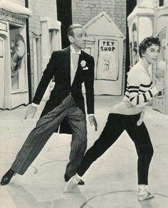 """Fred Astaire and Leslie Caron. Film still from """"Daddy Long Legs."""""""