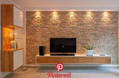 62 Ideas For Wall Brick Living Room Fireplaces Bedroom Tv Unit Design, Living Room Tv Unit Designs, Tv Wall Design, Hall Design, Stone Wall Design, Stone Wall Living Room, Living Room Decor, Tv Wanddekor, Tv Unit Decor
