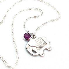 Silver Elephant Necklace, Good Luck, Lucky Elephant, Baby Elephant, Silver Charm, Cute Animal Jewelry, Jungle Animal, Purple Amethyst