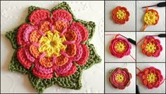 çok güzel örgü çiçek motifi yapımı