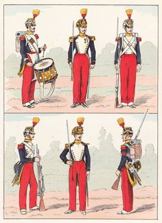 French; Imperial Guard, Voltigeurs, 1856 from Hector Large's Le Costume Militaire Vol III
