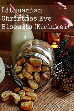 These tiny biscuits known as Kuciukai (koo-chuck-ay) are traditionally served in Lithuania on Christmas Eve. Delicious with a glass of milk. Christmas Dishes, Christmas Baking, Christmas Eve, Christmas Cookies, Xmas Food, Christmas Foods, Christmas Treats, Lithuania Food, Potato Pudding
