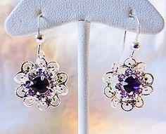 Swarovski element with purple bead in the by EarringsBraceletsEtc