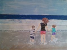 My painting of Little Spencer, Becky, Sofie in San Diego 2014