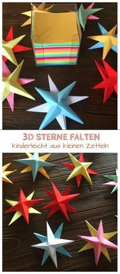 Weihnachtssterne aus Papier falten und basteln. Für diese bunten Sterne braucht ihr nur kleine Zettel, dann könnt ihr sie kinderlicht falten. Das schaffen auch schon Kinder im Kindergartenalter: https://www.familienkost.de/artikel_3d_sterne_basteln_mit_kindern.html