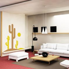 Cactus in the Sun Wall Decal - Vinyl
