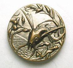 Antique Brass Button Flying Fish Pictorial Design - Paris Back