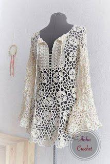 Fabulous Crochet a Little Black Crochet Dress Ideas. Georgeous Crochet a Little Black Crochet Dress Ideas. Gilet Crochet, Crochet Motifs, Crochet Tunic, Crochet Jacket, Crochet Clothes, Crochet Patterns, Crochet Tops, Lace Tunic, Crochet Dresses