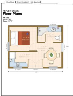 """Do away with """"bedroom"""" and wall. Move kitchen to back wall and make entry single door to get back usable space. Make space by door the living area with fold out bed. Studio Floor Plans, Garage Floor Plans, Cottage Floor Plans, Cabin Floor Plans, Cottage Plan, Small House Plans, Cottage House, Tiny Cabins, Cabins And Cottages"""