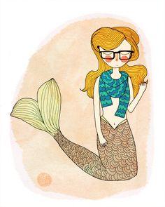 25 % Off Print of the Week - Hipster Mermaid  - 8 x 10 Illustration Print. $12.00, via Etsy.