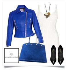 """blue lady"" by brendamacleod ❤ liked on Polyvore featuring Hervé Léger, Yves Saint Laurent and Marni"