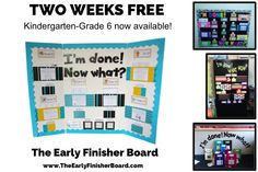 The Early Finisher Board provides option to your students when they finish their work early, or when they arrive at school in the morning. Some teachers also use it as an independent math/literacy station. Because students have power, freedom, and choice, the Early Finisher Board is engaging and keeps learning fun. Kindergarten to Grade 6 versions are currently available. Try it out in your classroom, absolutely free!