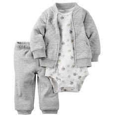 Retail New 2017 hot sale bebes 3pcs clothing set kids Baby boy Girls Clothes sets ,jacket baby romper Pant roupas