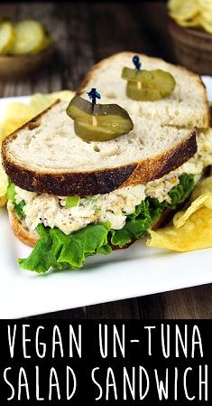 This Vegan Tuna Salad Sandwich is creamy, tangy and delicious! You'll feel satisfied with this protein & nutrient-packed lunch. #glutenfree #veganlunch #vegantuna