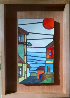 Stained Glass Crafts, Stained Glass Designs, Mosaic Designs, Mosaic Art, Mosaic Glass, Cubist Paintings, Mosaic Projects, House Painting, Landscape Art