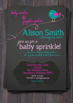 Chalkboard style Baby Sprinkle, Baby Shower, Sip & See Invitation.  Bird, Pink, Turquoise, Custom.  Baby Girl.  Boy. on Etsy, $12.00