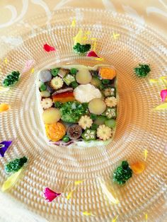 Spring has come.  Beautiful colourful fresh vegetables on the dish!  Japanese food at famous restaurant in Kyoto.