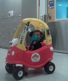 KidKare Ride-on Car:Upon visiting a children's hospital in 1998, 6-year-old Spencer Whale noticed that medical apparati often got in the way when sick children attempted to play. Spencer went home and created a rideable car with an attached IV pole so that sick kids could play safely and easily while receiving their medicine. Several children's hospitals across the country now own KidKare Cars and Trucks.