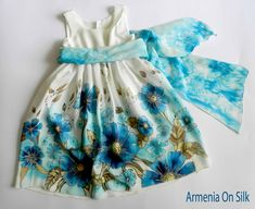 Flower silk dress hand painted for kids.Navy blue,  turquoise and  white  silk dress.Anniversary dress. Made to order..