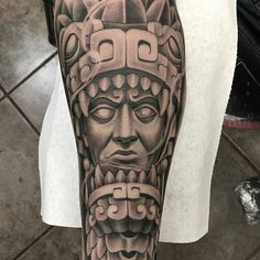 Aztec tattoo by @marcos_adame #mexicanstyle_tattoos #mexstyletats #mexicanculture #ink #tattoos #blackandgrey #azteca #aztec #aztectattoo