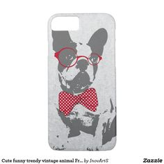 Cute funny trendy vintage animal French bulldog iPhone 7 Case. affiliate This form-fitting, featherlight Case-Mate custom case provides full coverage to your Apple iPhone 7 while still keeping your device ultra sleek and stylish. affiliate