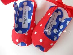 Red white and blue baby girl shoes peep toe