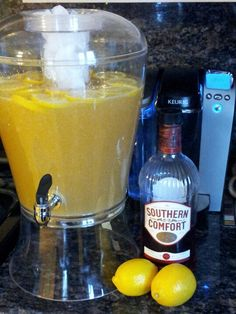 SoCo Punch! (Even if you are not a fan of Southern Comfort, you're going to like this punch..PROMISE!) *3-2L of Sprite, 1 large can of frozen Orange juice concentrate, 1 large can of frozen Lemonade concentrate, the juice of 1 lemon, additional sliced lemons and oranges for garnish and 1L of Southern Comfort ( -/+ depending in personal taste....we like it all in there!) **Mix all ingredients together, top with fruit slices, serve over ice.... Enjoy!