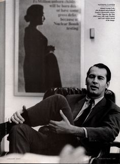 Legendary MADison Avenue ad MAN George Lois sits in an Eames 670 lounge chair.