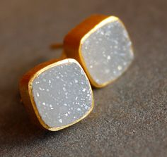 ON SALE 10 OFF Gold Soft White Agate Druzy Stud Earrings - Square Studs - Post Setting, Minimalist, Aaa Quality. $64.80, via Etsy.