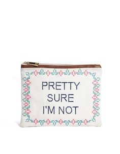 ASOS Clutch Bag With Slogan Cross Stitch
