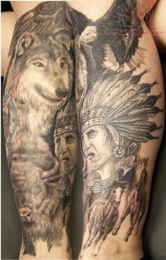 Native American Tattoos on Legs