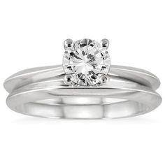 1 Carat Knife Edge Diamond Bridal Solitaire Set in 14K White Gold